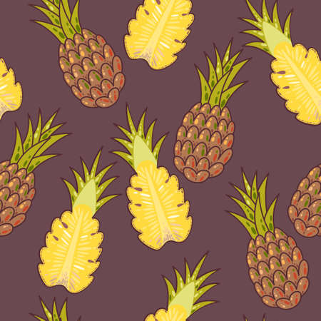 fashion illustration: Hand drawn colorful pineapples seamless vector background