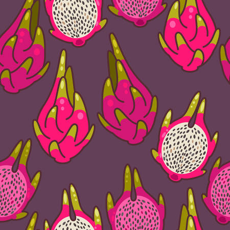 fruit du dragon: Colorful fruit du dragon d�coratif seamless fond Illustration