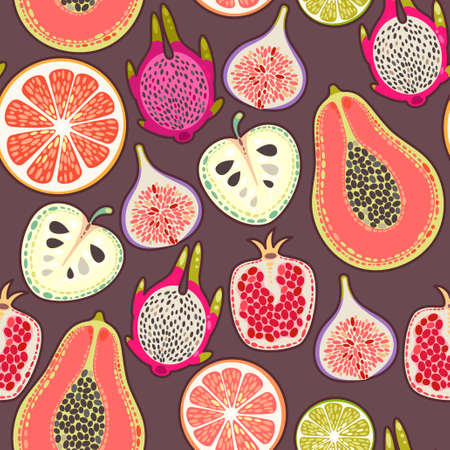 pink wallpaper: Decorative colorful exotic fruit seamless background pattern