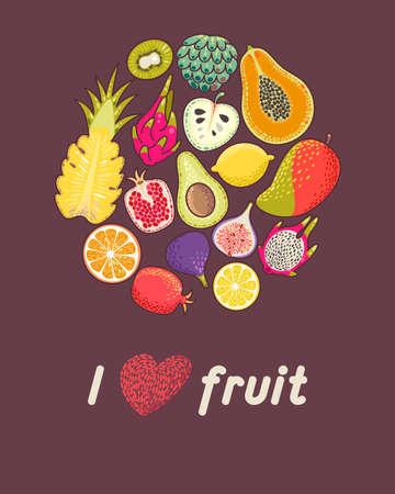 exotic fruit: Illustration of circle made with exotic fruit