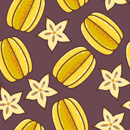 exotic: Decorative colorful exotic fruit seamless background pattern