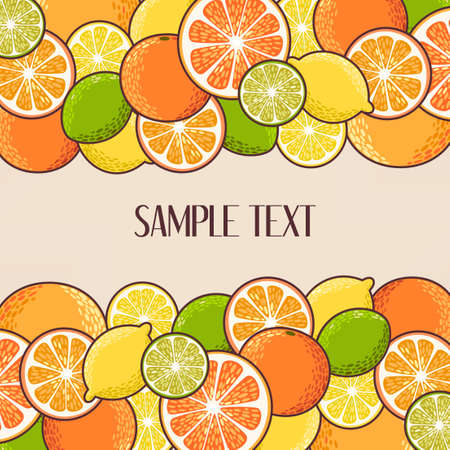 grapefruit: Lemon, lime, orange and grapefruit vector background Illustration