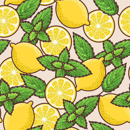 Colorful lemon and peppermint vector seamless background