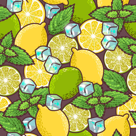peppermint: Lime, lemon and peppermint vector seamless background