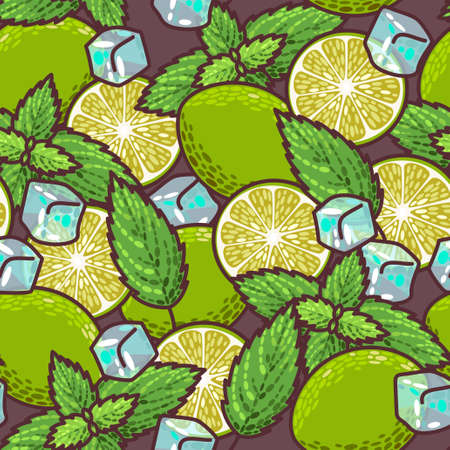 peppermint: Colorful lime and peppermint vector seamless background Illustration