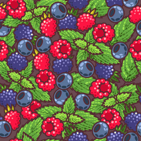 peppermint: Colorful berries and peppermint vector seamless background Illustration