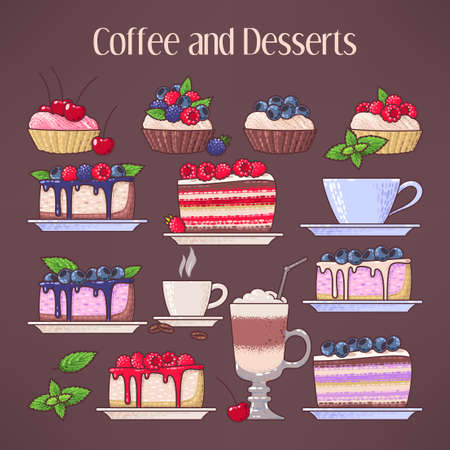 cake plate: Set of coffee cups and desserts with fresh berries