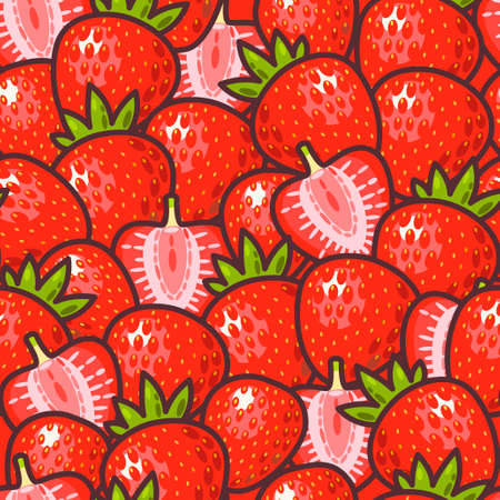 strawberry cartoon: Strawberry and strawberry slices vector seamless background Illustration