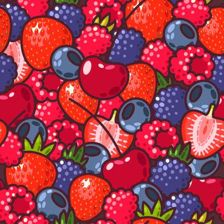 frutos rojos: Vector de fondo sin fisuras con las bayas frescas de colores Vectores