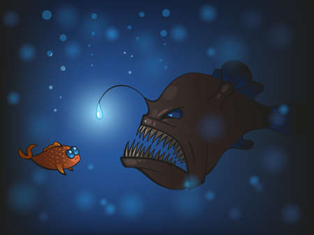 react: Illustration of angler fish and the small fish Illustration