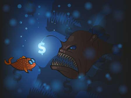 angler: Illustration of angler fish and the small fish Illustration