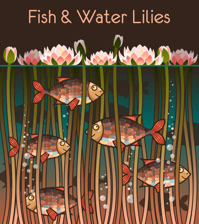 water lilly: Illustration of water lilly and the fish Illustration
