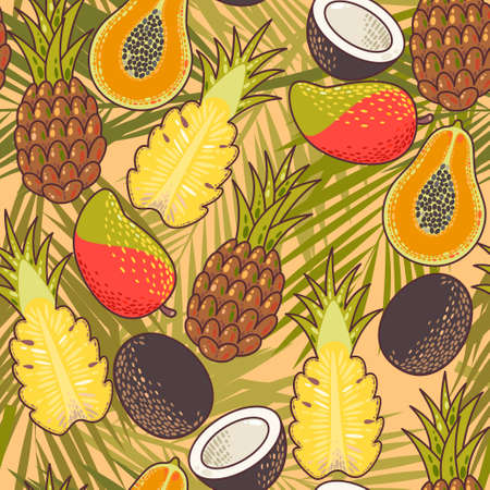 exotic fruit: Exotic fruit and palm leaves vector seamless background Illustration