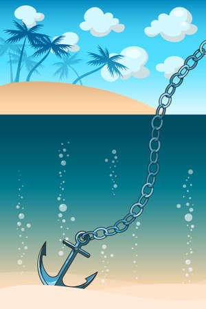 Illustration of anchor in the water near the tropical island