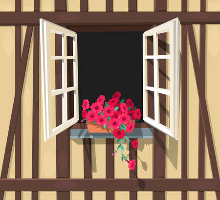 strasbourg: Open window in half-timbered house with red petunia