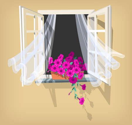 Illustration of open window with purple petunia
