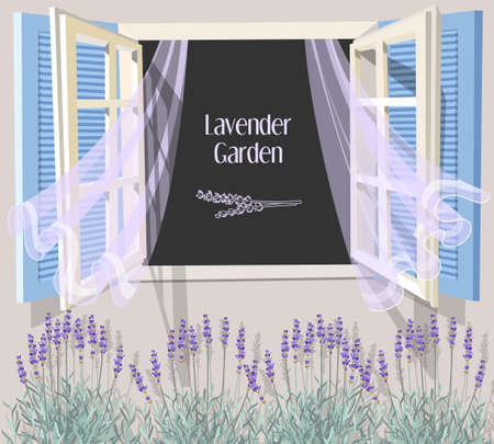 Illustration of open window with blue shutters and lavender