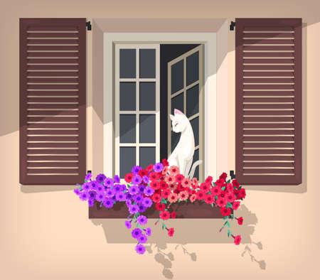 Illustratie van een open raam met petunia en de kat