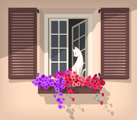 Illustration of open window with petunia and the cat