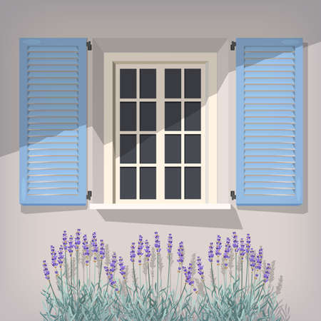 breton: Illustration of open window with blue shutters and lavender