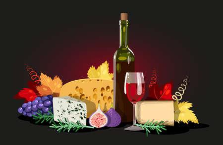 comida italiana: Composición de vino, queso y hierbas, decorado con hojas de parra