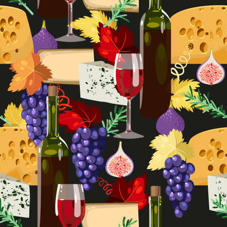 wine and cheese: Wine, cheese and grape vector seamless background