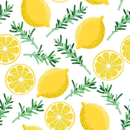 カラフルなレモンとローズマリー シームレスな背景をベクトルします。