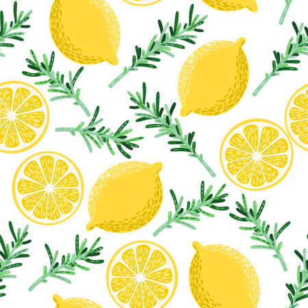 rosemary: Colorful lemon and rosemary vector seamless background