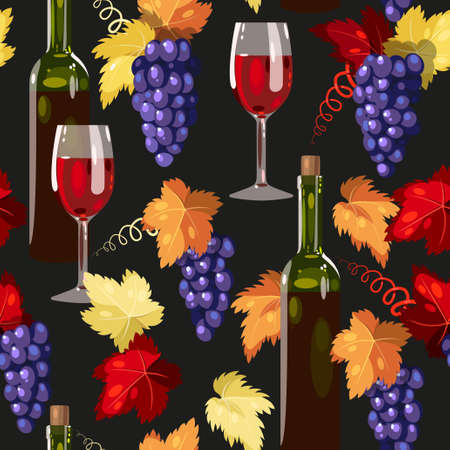 Wine and grape with colorful leaves seamless background