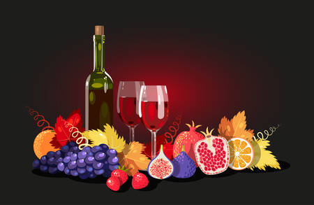 grape leaves: Composition of wine and fruits, decorated with grape leaves Illustration