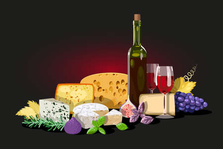 Composition of wine, cheese and herbs, decorated with grape leaves