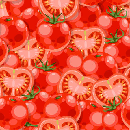 tomato slices: Red tomato and tomato slices vector seamless background