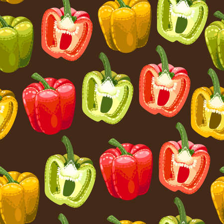 contemporary taste: Peppers of different colors vector seamless background Stock Photo