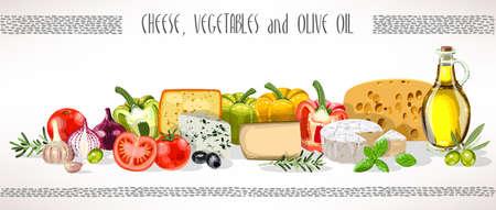 Aceite de oliva, verduras y composición del queso del vector