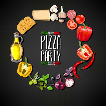 pizza: Pizza party invitation with ingredients for pizza Illustration