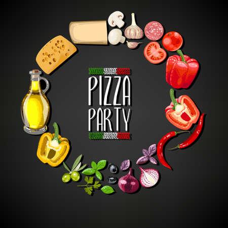 Pizza party uitnodiging met ingrediënten voor pizza