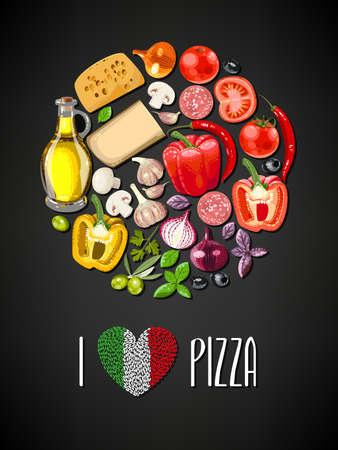 Kleurrijke cirkel gemaakt van ingrediënten voor pizza Stock Illustratie