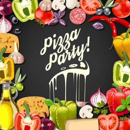 Pizza party invitation with ingredients for pizza Vectores