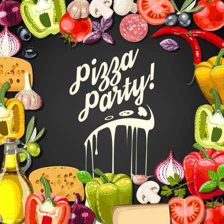pizza: Pizza invitaci�n del partido con ingredientes para la pizza