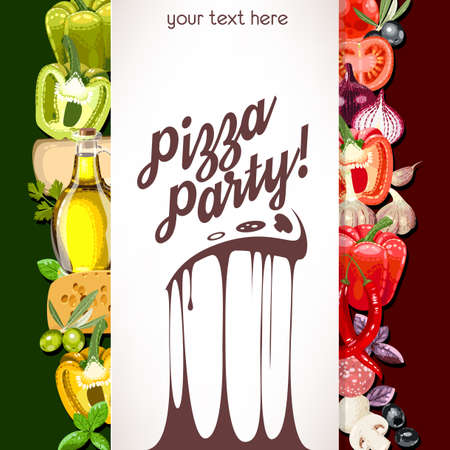 Pizza party invitation with ingredients for pizza 일러스트