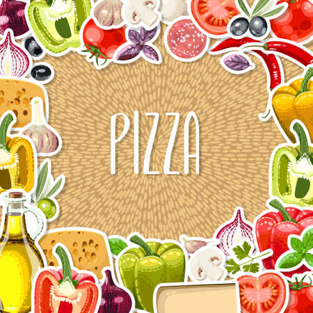 pizza ingredients: Vector illustration of different pizza ingredients with copy space Illustration