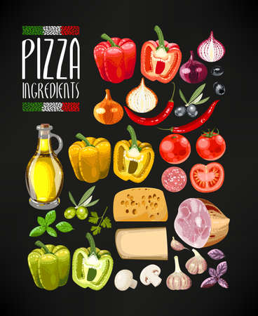 Vector set of different ingredients for pizza