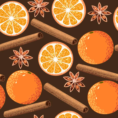 christmas food: Orange, star anise and cinnamon vector seamless background