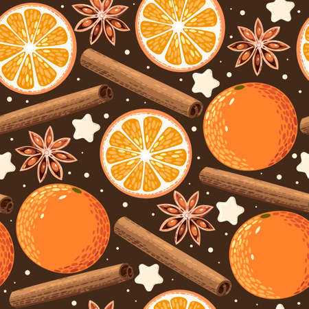 anise: Orange, star anise and cinnamon vector seamless background