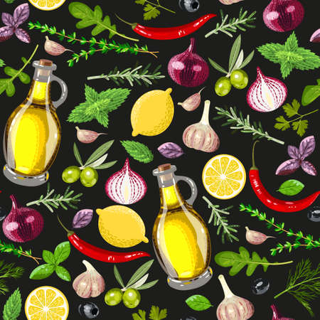 spice: Different spice and olive oil vector seamless background