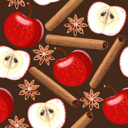 Apple, star anise and cinnamon vector seamless background