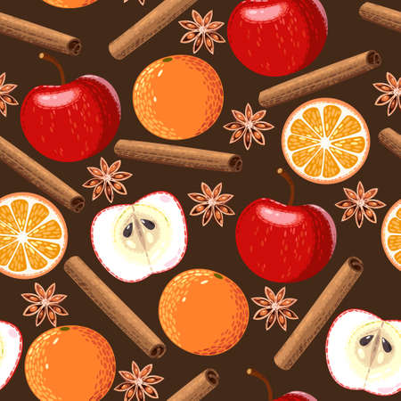 apple orange: Apple, orange, cinnamon and star anise seamless background