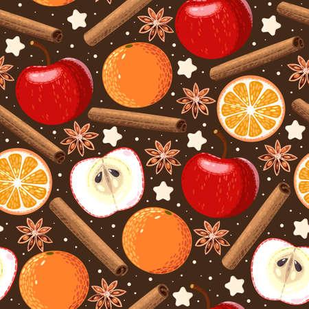star anise: Apple, orange, cinnamon and star anise seamless background