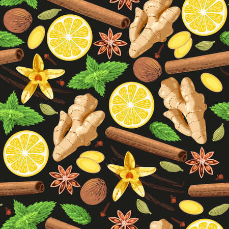 allspice: Vector seamless background with different gourmet spices