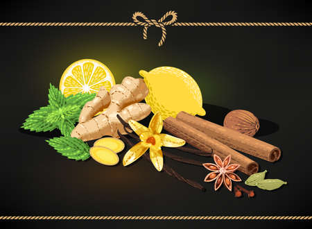 confectionery: Vector composition made of different confectionary spices